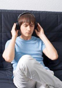 Saving in WAV New Equations Body Resonant Music man listening headphones