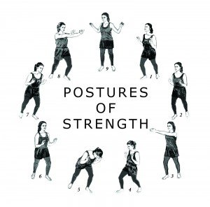 Nine small drawings of the nine postures of strength.