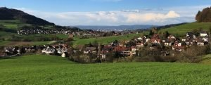 Landscape photo of rolling hills and houses in Germany