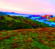 Rolling hills in California with enhanced rainbow colors