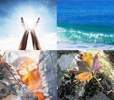 Four photos representing the four elements: earth, water, air and fire