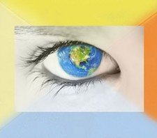 An eye with the world as the pupil surrounded by four colors