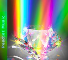 A rainbow reflected through a large sparkling crystal