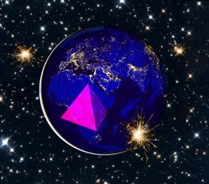 View of the earth from space with a pyramid and sparkles on top