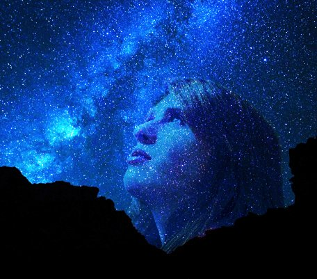 A girl looking up at the stars