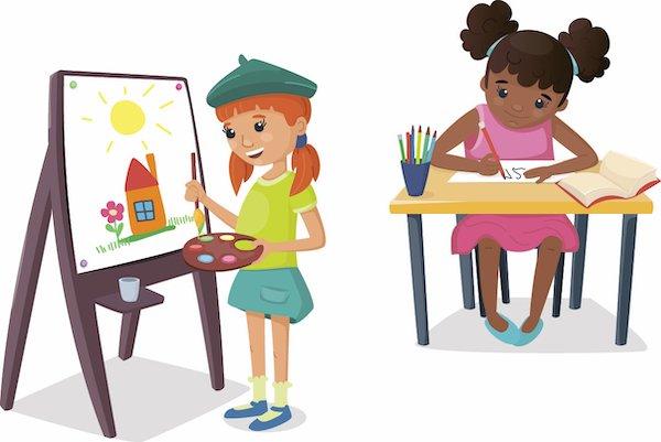 Two cartoon girls doing art