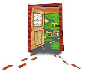 Cartoon drawing of an open door leading outside