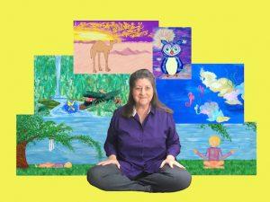 Laurel sitting in front of her artwork