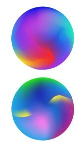 Two colorful spheres