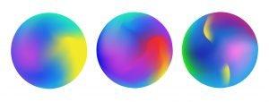 Three colorful spheres