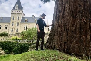 Fabian on a hill with one hand on an enormous tree