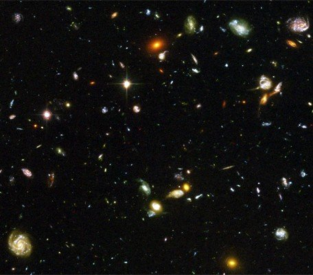 A photo of deep space taken by the Hubble Telescope