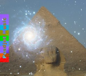 The Sphinx and the Great Pyramid behind a swirling galaxy