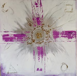 Painting of a thick purple cross on a white background with gold flecks