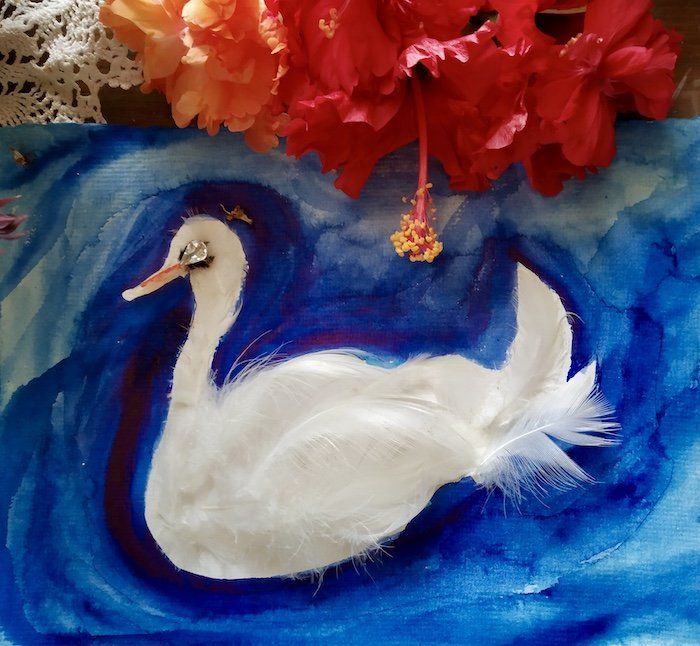 A painting of a swan over blue water