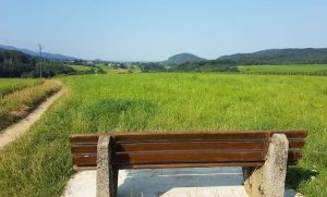 A wooden bench in an open field overlooking the mountains